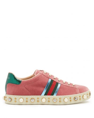Gucci, New Ace Embellished Velvet Trainers £690