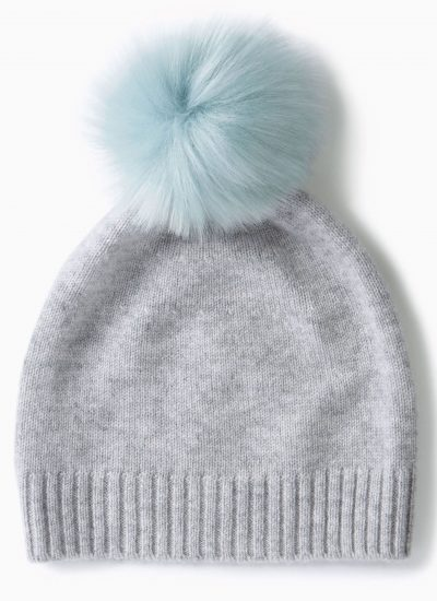 Pure Collection Grey Cashmere Pom Pom Hat £45